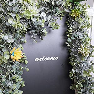 "Supla 8.7' Long 5.9"" Wide Faux Eucalyptus Leaves Garland Fake Artificial Hanging Eucalyptus Greenery Garland in Grey Green for Wedding Holiday Decorations UV Protected Indoor Outdoor 5"