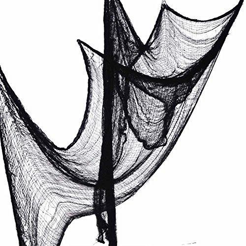 Halloween Gothic (Zicome Halloween Creepy Cloth - 5 Yards x 30 inch - Black - Door Decor Gothic Prop Party Decoration)