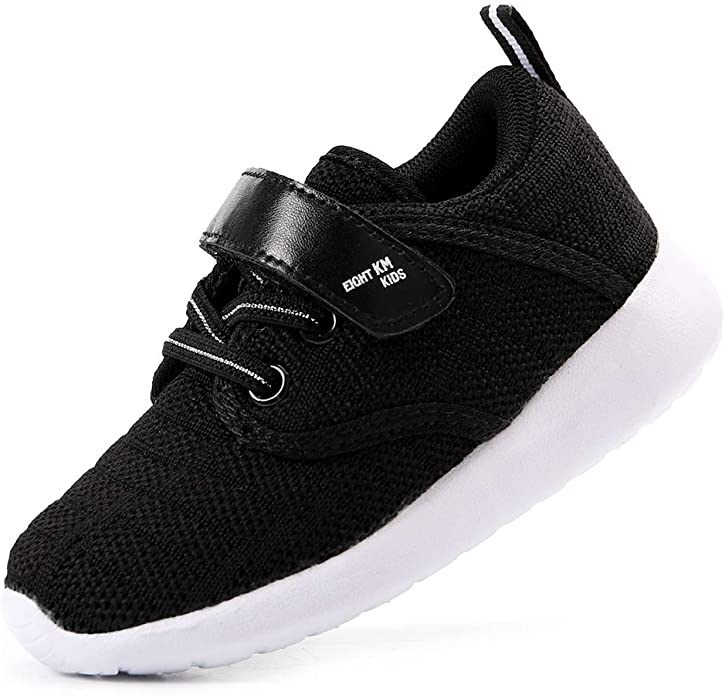 EIGHT KM Girls Toddler Kids EKM7024 Lightweight Breathable Woven Black Fabric Velcro Sneakers School Shoes Size 6 US