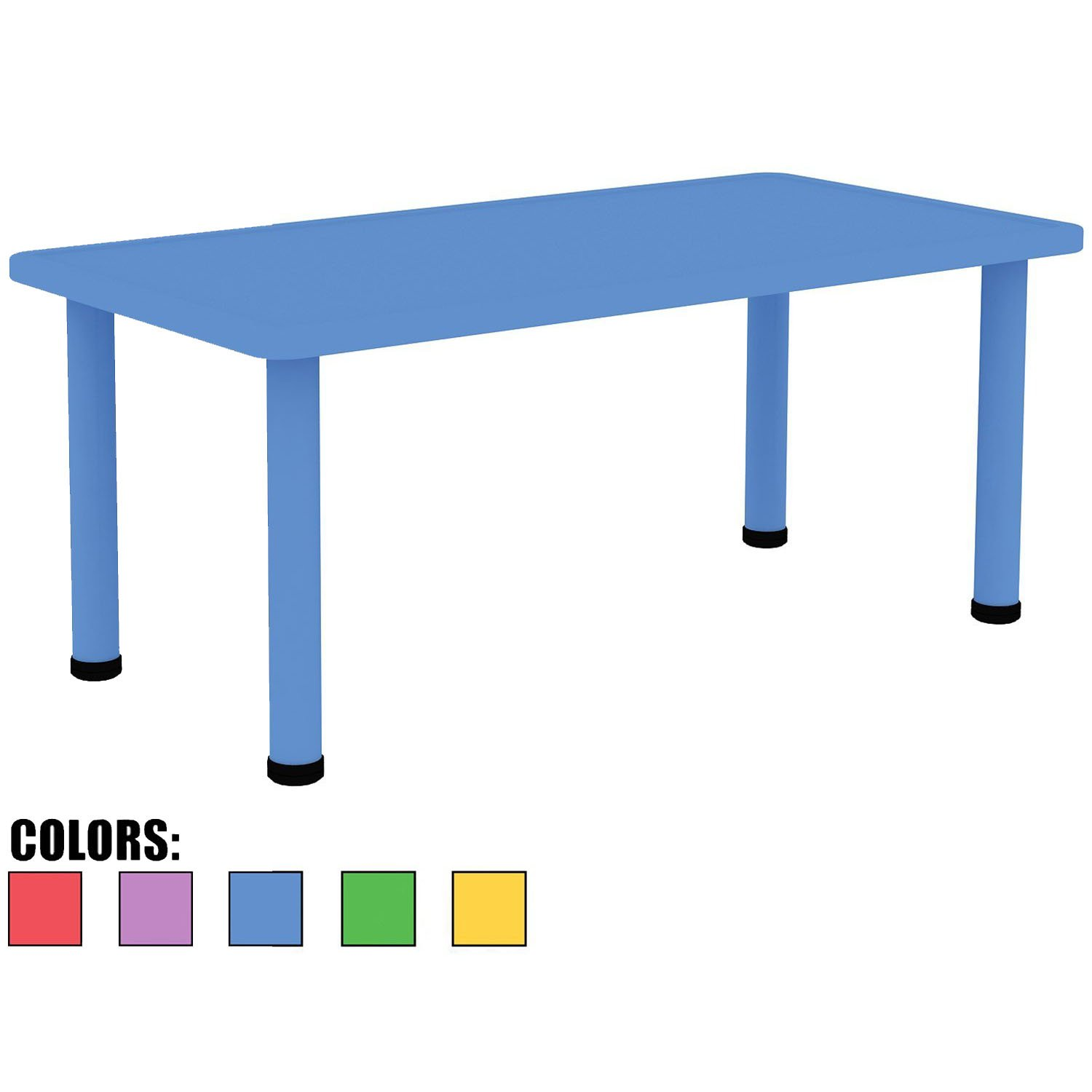 2xhome – Blue – Kids Table – Height Adjustable 18.25 inches to 19.25 inches - Rectangle Plastic Activity table With Metal legs for Toddler Child Furniture Preschool School Learn Play Indoor or Outdoor