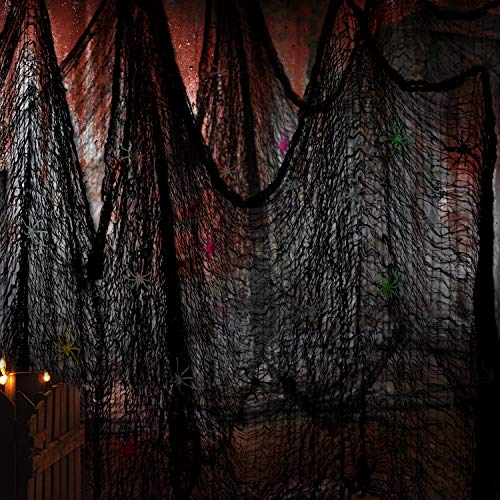Black Creepy Cloth Spooky Halloween Decorations for Haunted Houses Party Doorways Outdoors Size 118inch *30 inch, 2PCs