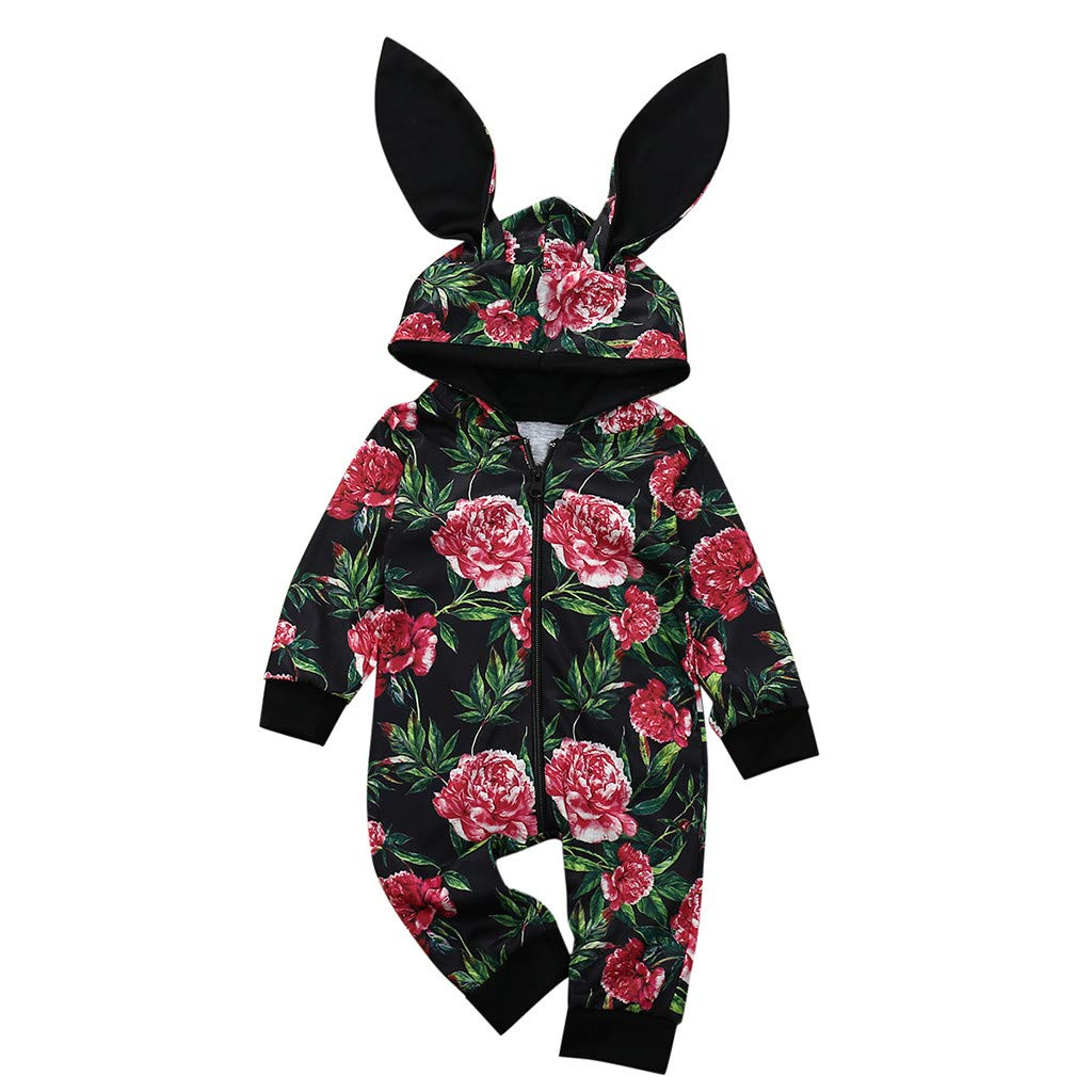 Newborn Hooded Romper Baby Girl Boys Flower Print Zip Bunny Ears Jumpsuit for 0-24Months,SIN vimklo