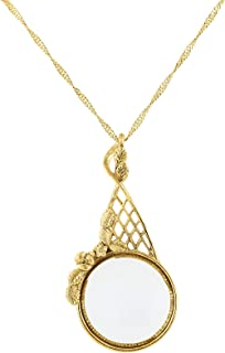 product image for 1928 Jewelry Gold-Tone Filigree Round Magnifying Glass Necklace 28 Inch Long - Magnification Power: 3.5X