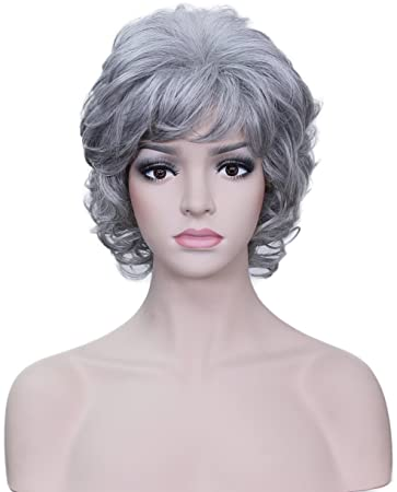 Amazon.com   Deifor Older Women Short Messy Curly Wig Heat Resistant  Synthetic Hair Natural As Real Human Hair Wigs for Daily Life (Silver  White)   Beauty 205b985cc86c