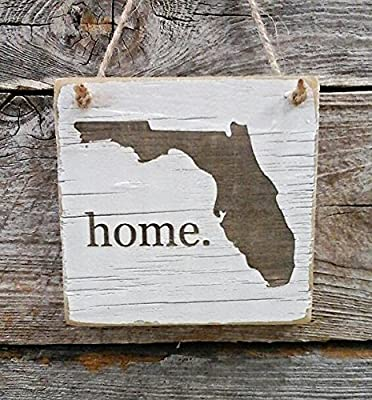Florida Home Hanger - Reclaimed Wood Ornament - Florida Decor - (small keepsake 4 inches by 4 inches in size)