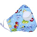 ZWZCYZ Child's Air Pollution Mask with Exhale Valves PM2.5 Cartoon Cute Anti-Dust Cotton Breathable Mouth Face Mask Suit For 4-15 Years Old (Blue car)