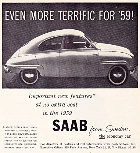 "1959 SAAB 93B SEDAN "" Even more terrific..."" VINTAGE for sale  Delivered anywhere in USA"