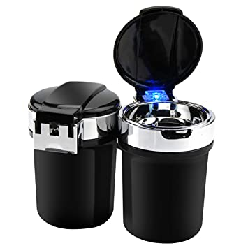 Cenicero Portátil para Coche,Portable Auto Car Smokeless Soporte Cilindro Portavasos Cenicero Cigarrillo (Negro): Amazon.es: Coche y moto