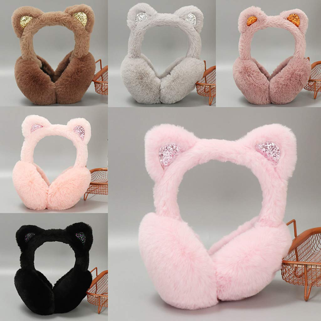 Black Cats Happy Valentines Day Winter Earmuffs Ear Warmers Faux Fur Foldable Plush Outdoor Gift