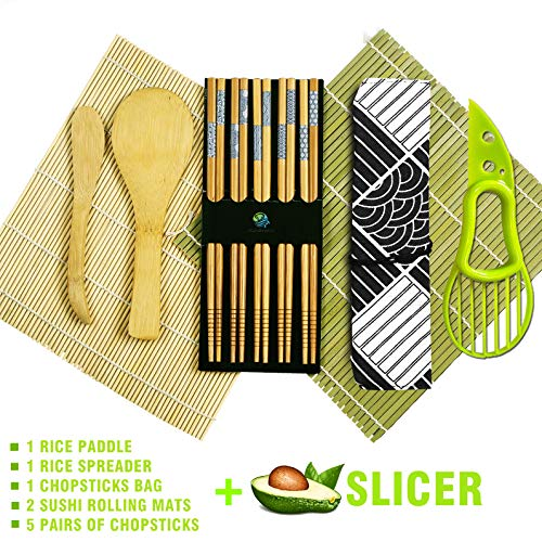 Sushi Making Kit - Natural Sushi DIY Rolling Kit Includes 2 Bamboo Rolling Mats, 1Rice Paddles, 1 Rice Spreader, 5 Pairs Chopsticks, 1 Avocade slicer, 1 Chopsticks Bag with Exquisite Packaging