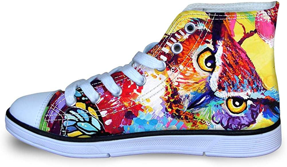 Instantarts Animal Graffiti Kids High Top Lace Up Canvas Shoes Fashion Sneakers