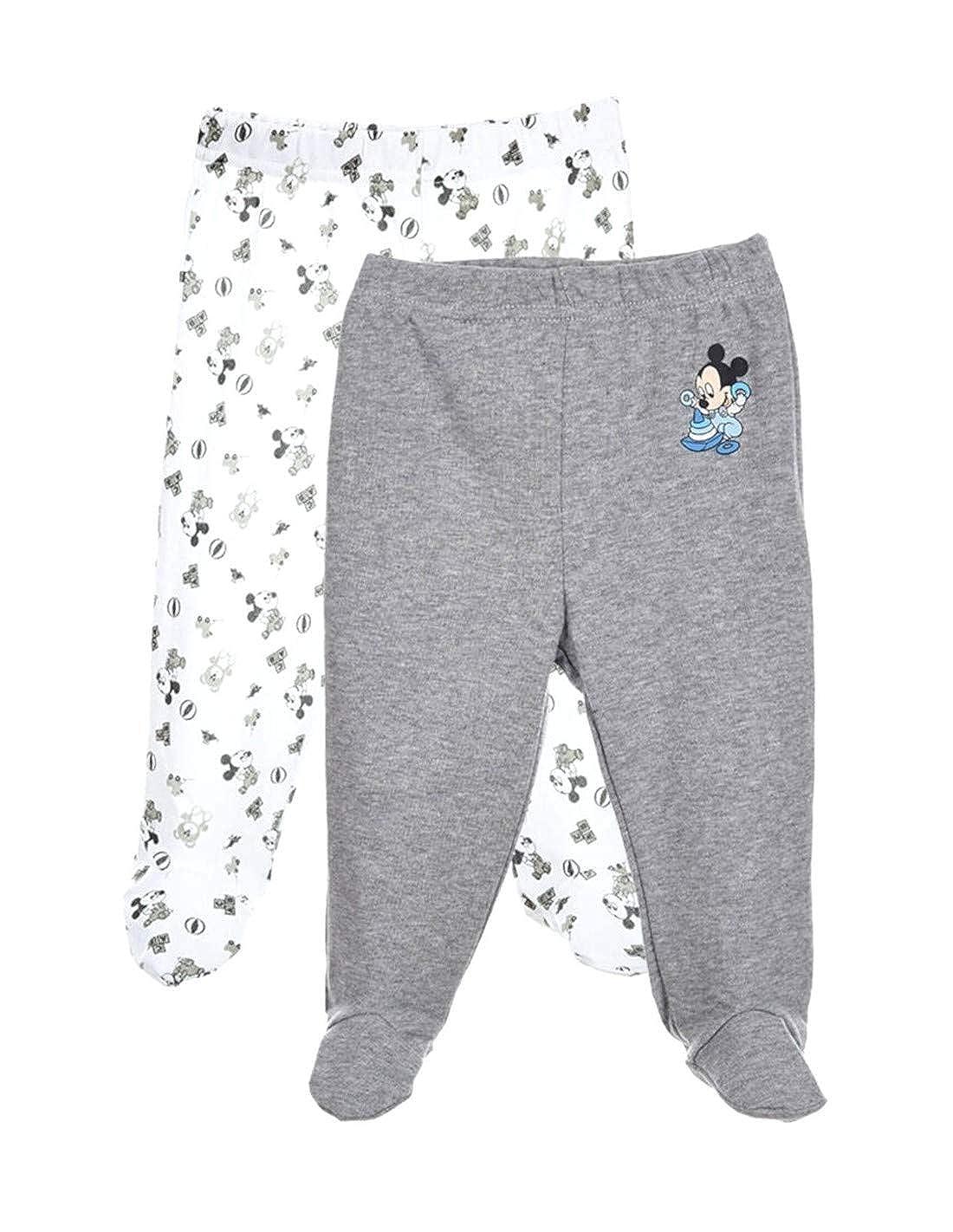 Mickey Mouse Set di 2 Pantaloni a Piedi per Bambino Motivo da 1 a 9 Mesi Topolino Blu e Grigio