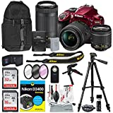 Nikon D3400 DSLR Camera with 18-55mm and 70-300mm Lenses (Red) and Deluxe Bundle with XPIX Cleaning Kit & Tripods+Filters+Backpack+ Book for Dummies and More