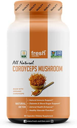 Organic Cordyceps Mushrooms – Strongest DNA Verified 1500mg Per Serving – Rich in Alpha Glucan – Great for Immunity, Adrenals, Free Radicals, Vascular Function and Blood Sugar – 3rd Party Tested