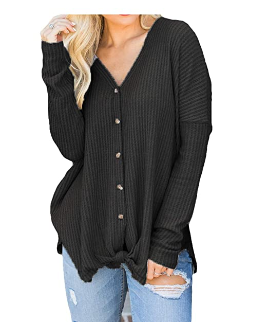 8387e89a768 Smile fish Womens Henley Shirts Long Sleeve Blouse Front Knot V Neck Button  Down Loose Tunic