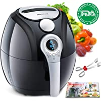 Air Fryer,Blusmart Electric Air Fryer, 3.4Qt/3.2L 1400W, LED Display, Hot Air Fryer,Healthy Oil Free for Multifunctional Cooking/Baking (Recipes & Kitchen Tongs Included)