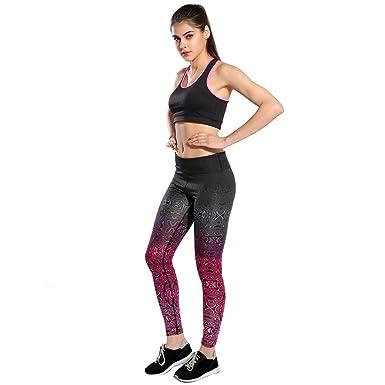 HARRYSTORE Mujer pantalones elásticos de yoga Gradiente de ...
