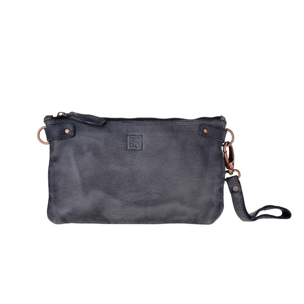 Woman's large clutch bag leather shoulder and wrist strap DUDU - 580-1149 Timeless ~ Pochette - Black Slate
