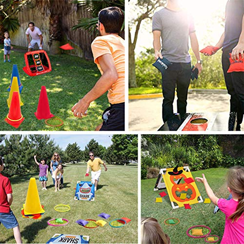 Eocolz 3 in 1 Carnival Games Set, Soft Plastic Cones Bean Bags Ring Toss Games for Kids Birthday Party Outdoor Games Supplies 26 Piece Combo Set by Eocolz (Image #3)