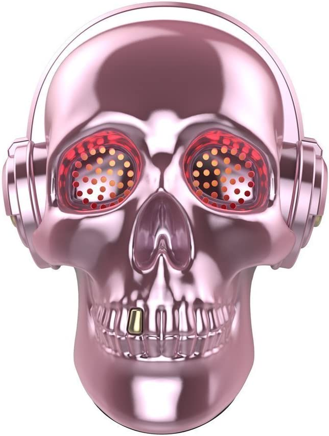 Pink Skull Wireless Speaker TOPROAD LED Wireless Super Bass Stereo Sound Cool Skull Artwork Speaker with Wonderful Eyes Light for Home Party//Office//Business//Bedroom//Outdoor Updated Version