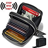 Image of KALMORE Women's Genuine Leather RFID Identity Safe Card Wizard Wallet Small Purse (Black)