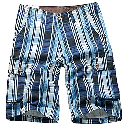 i-Summer Men's Cargo Short Blue - Plaid Pocket Flap Shorts