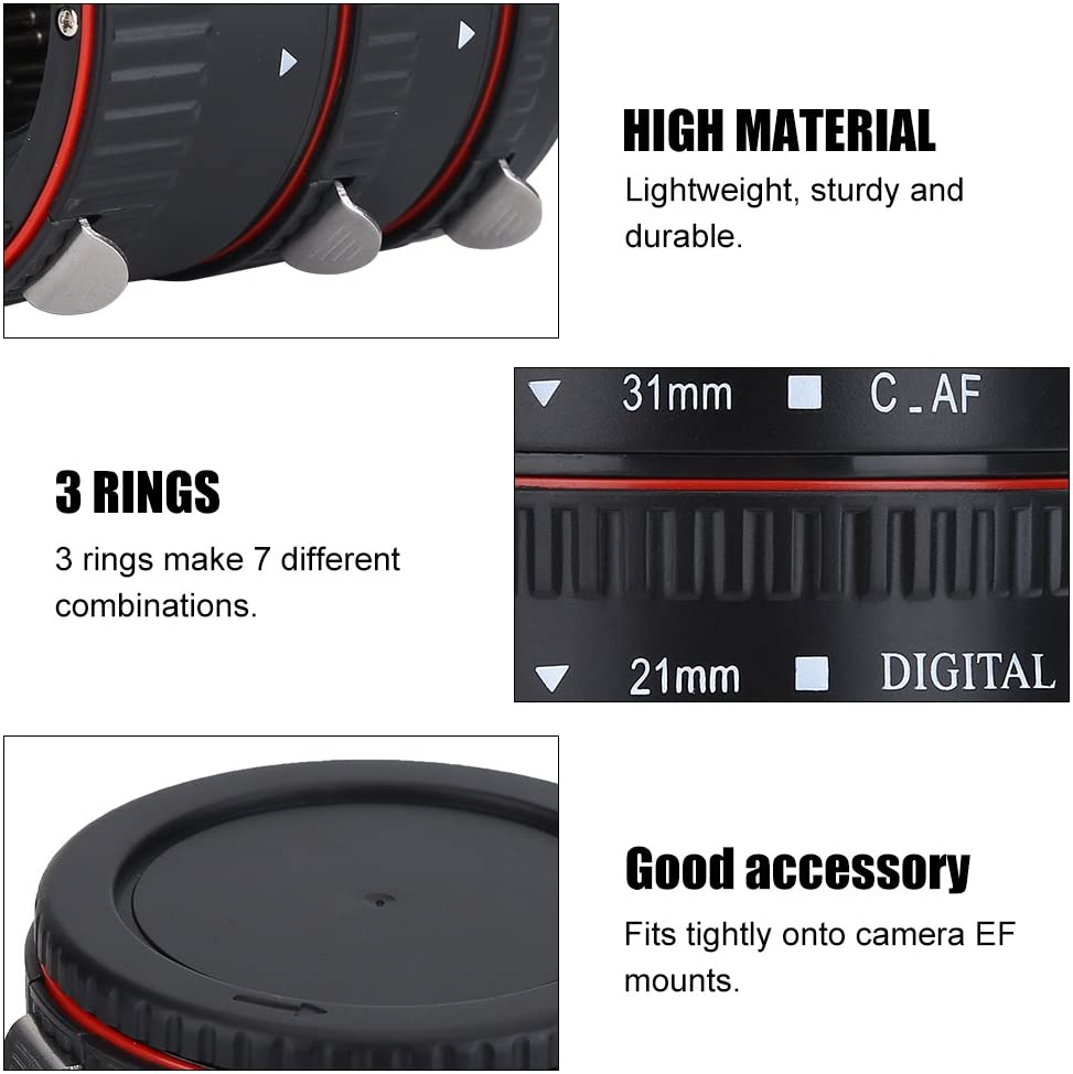 Auto Focus Macro Extension Tube Lens Adapter Rings Set Suitable for Canon EOS EF Mount 3 Rings Make 7 Different Combinations 13mm, 21mm, 31mm Adapter Rings Set