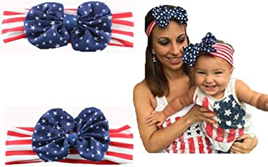 Qin.Orianna 4th of July Toddler Baby Girl American Flag Tassel Romper with Headband