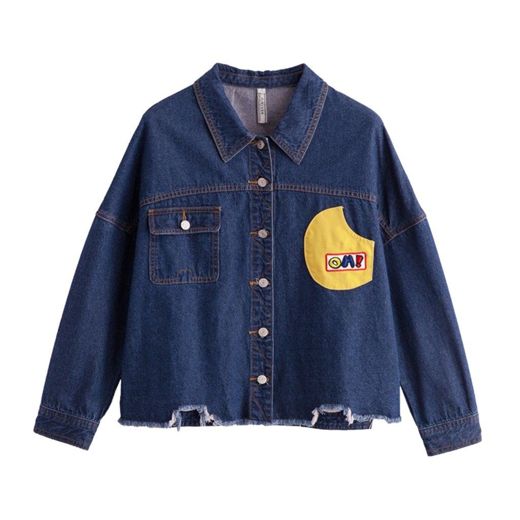 TSINYG Mujeres Casual Moda de manga larga suelta Irregular Short Denim Jacket ( Color : Azul , Tamañ...