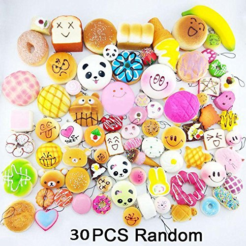 30Pcs Jumbo Medium Mini Squishy Soft Lot Toast/Panda/Bread/Cake Phone Straps BU