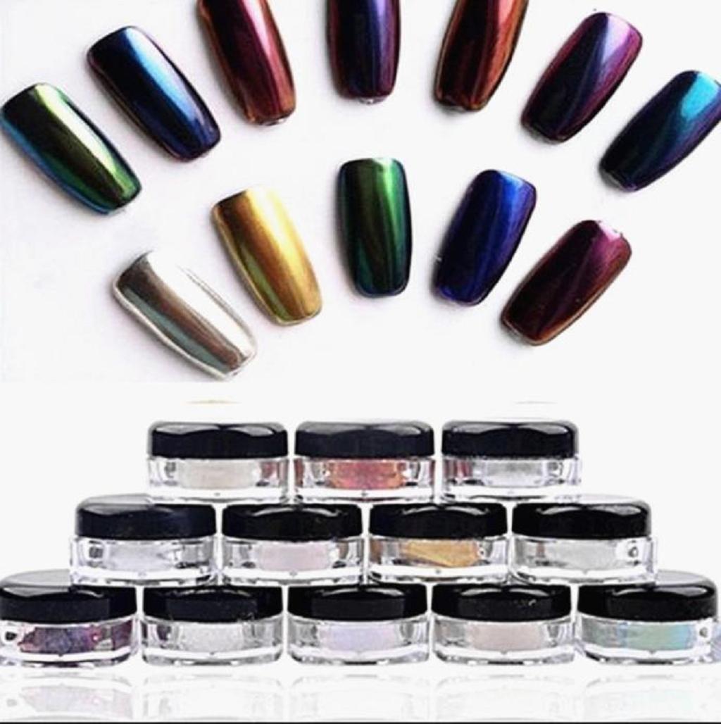uñas espejo kit Sannysis 12 colores polvo de espejo para uñas ...