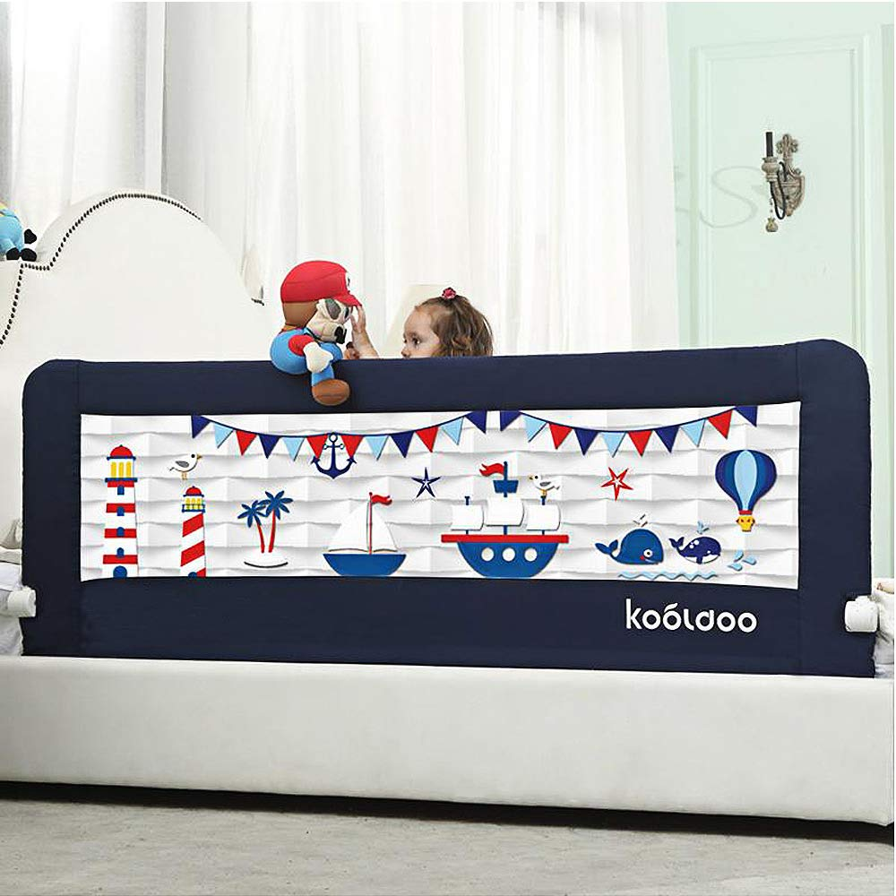 KOOLDOO 59'' Fold Down Toddlers Bed Rail Safety Baby Bed Guard with NBR Foam Including 1Pc Seat Belt (Blue)