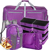 Lightweight Family Travel Bag Set - Luggage, Carryon & Packing Accessories (Purple)