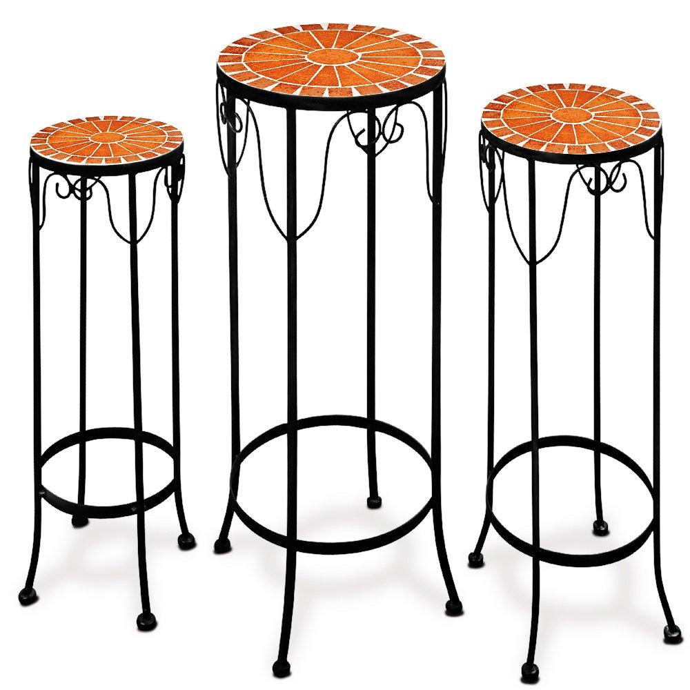 Lot de 3 tables guéridons en mosaique hauteur jusque 70 cm Deuba
