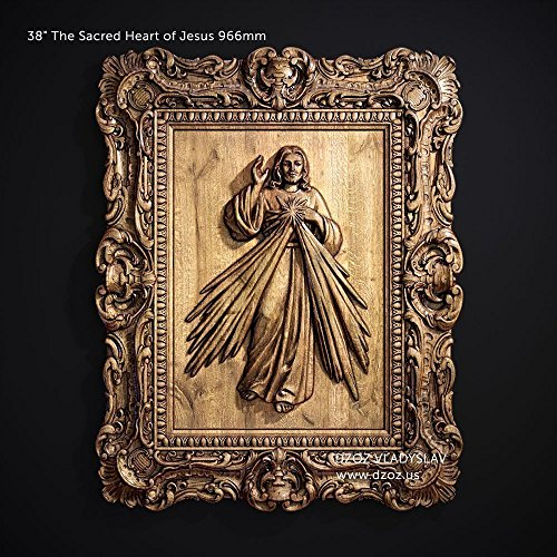 19'' or 38'' The Sacred Heart of Jesus 483 or 966mm Wood Carved 3D icon catholic picture-frame by Wood Carving Dzoz