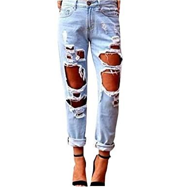 1106e4b7721 LANMWORN Women Ripped Jeans Big Hole, Boy Friend Denim Pants Distressed  Faded Casual Straight Loose Fit Destroyed Style Trousers Blue:  Amazon.co.uk: ...