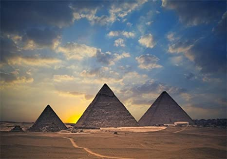 Pyramid Egypt 10x5ft Polyester Photography Background Desert Gold Blue Sky Sunny Ancient Culture History Travel Tomb Studio Tourist Decorate Photo Prop Family Portraits Shoot
