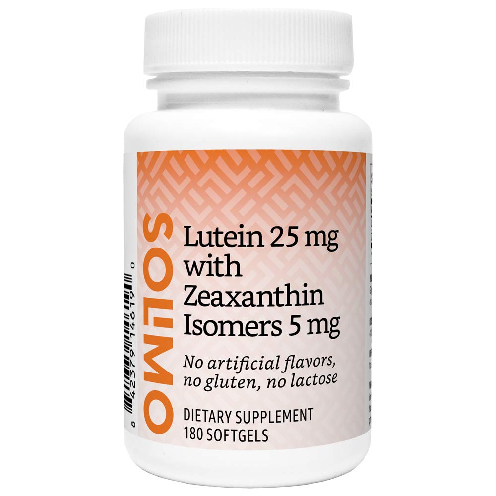 Amazon Brand - Solimo Lutein 25 mg with Zeaxanthin Isomers 5 mg, 180 Softgels, Six Month Supply by Solimo