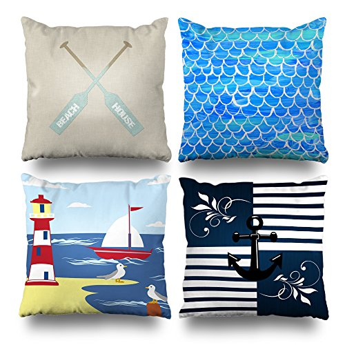 - Set of 4 Decorativepillows 18 x 18 inch Throw Pillow Covers,Beach House Oars Hand Painted Fish Scale Lighthouse Ship Seagull Nautical Stripes Double-Sided Decorative Home Decor Pillowcase