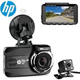 """HP Dual Lens Dash Cam for car Full HD 1080P Channel Front & Rear DVR Dashboard Camera Recorder,3.0"""",Sony Sensor,Night Vision,WDR, Loop Recording, Parking mode"""