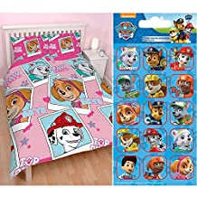 Paw Patrol Stars Double/US Full Rotary Duvet Cover + Paw Patrol Small Foil Caption Stickers