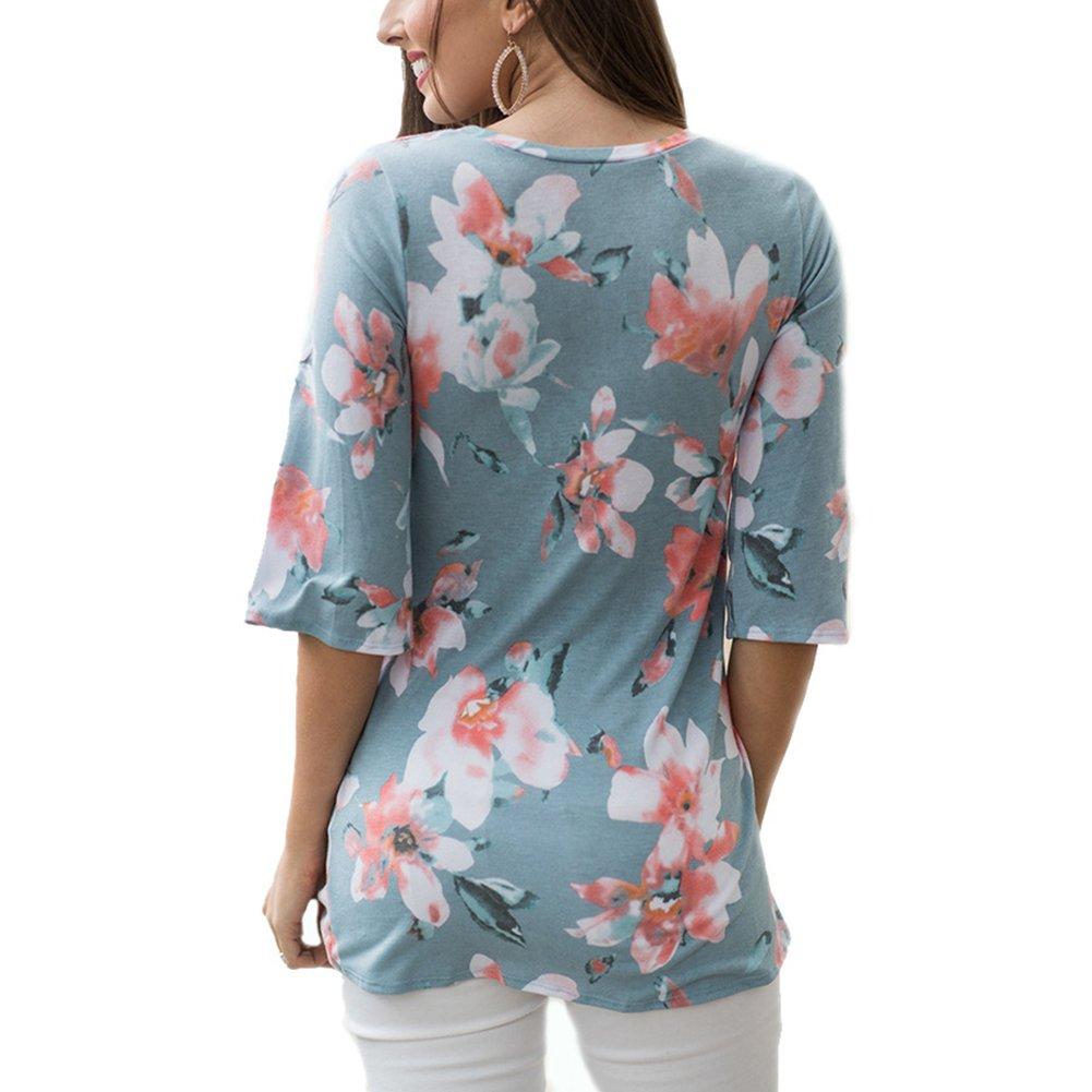 Antopmen Summer Women O Neck Half Sleeve Floral Print T-Shirt Comfy Casual Tops (Large, Blue) by Antopmen (Image #3)
