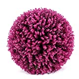 Yunhigh Artificial Plant Ball Decorative Boxwood Simulation Grass Ball Plastic Greenery Globe Lavender Purple Eucalyptus for Wedding Shopping Mall Christmas Home Decor(2pcs, 29cm)