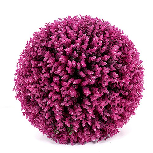 Artificial Boxwood Ball Topiary Plant Faux Decorative Plant Ball Lavender Purple Eucalyptus Grass Ball Greenery Globe for Wedding Shopping Mall Christmas Home Decor(2pcs, 19cm)