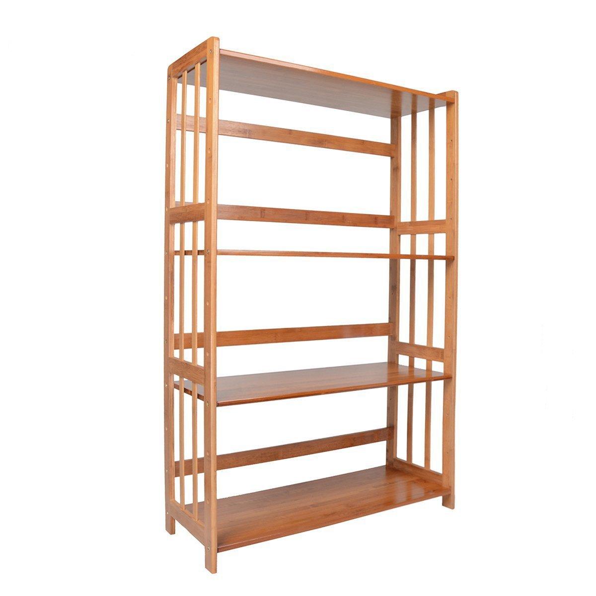 Saim Adjustable Bamboo Bookshelf Multifunctional Bathroom Kitchen Living Room Holder 4-Tier Utility Storage Rack Shelf