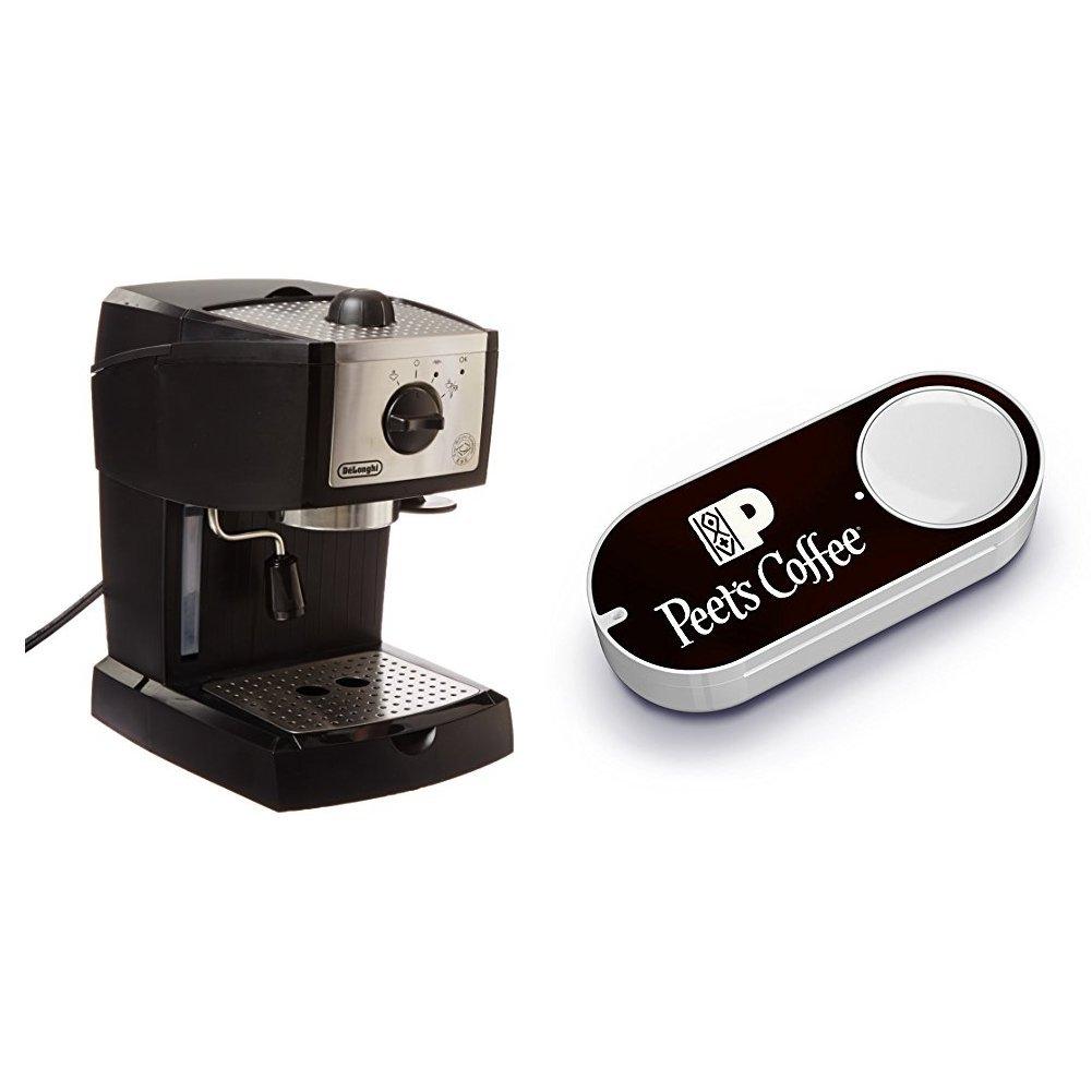 De'Longhi EC155 15 BAR Pump Espresso and Cappuccino Maker & Peet's Coffee Dash Button