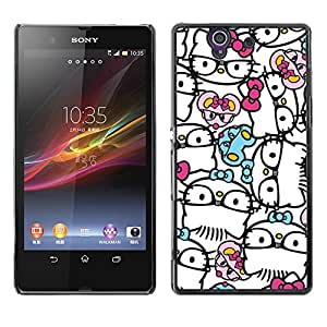 All Phone Most Case / Hard PC Metal piece Shell Slim Cover Protective Case Carcasa Funda Caso de protección para Sony Xperia Z L36H C6602 C6603 C6606 C6616 abstract hipster kitty bowtie whi