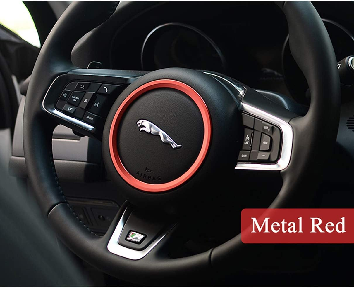 TopDall Aluminum Alloy Car Steering Wheel Decoration Ring Sticker Decals for Jaguar XE XFL F-PACE F-Type//XF 2015-2018