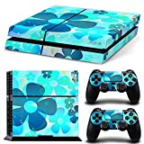 TURXIN PS4 Console and DualShock 4 Controller Skin Set - Light Blue Flowers - PlayStation 4 Vinyl