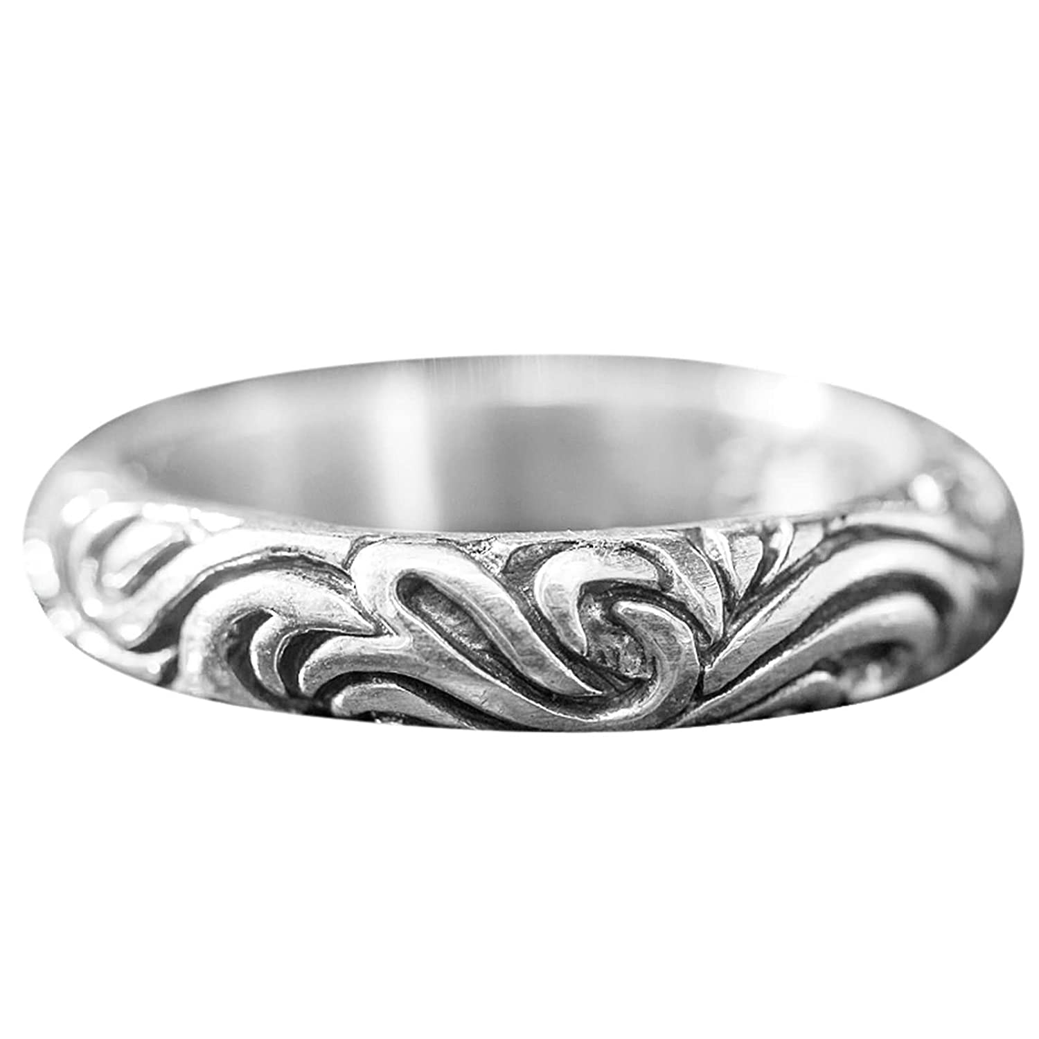 Bishilin Silver Plated Rings for Men Round Totem Friendship Rings Silver Size 11.5